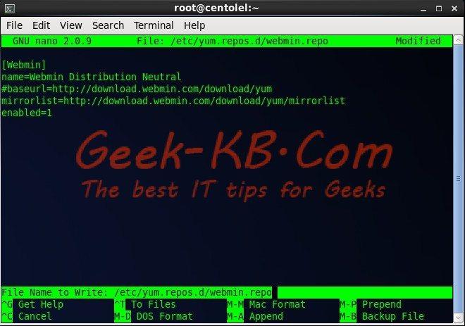 How To: Install Webmin on CentOS/RHEL 6.x Geek-KB.com