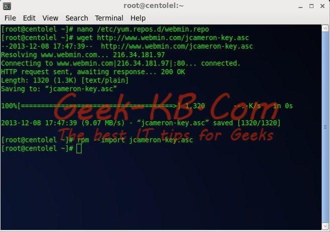 How To: Install Webmin on CentOS/RHEL 6.x - Geek-KB.com